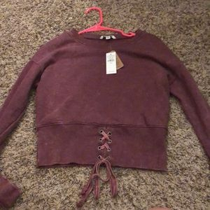 NWT AE Cropped lace up sweater